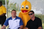 Daisy the Derby Duck posed with Joe Reitz and Justin Snow.