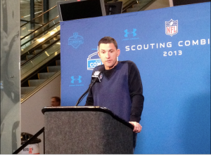 Oakland Raiders Head Coach Dennis Allen speaks to the media at the 2013 NFL Combine. Allen and the Raiders will travel to Indianapolis this fall for a regular season matchup.