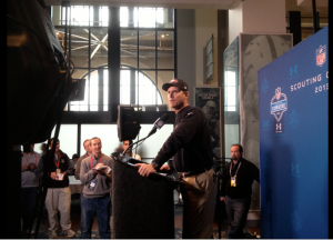 49ers Coach Jim Harbaugh speaks at NFL Combine