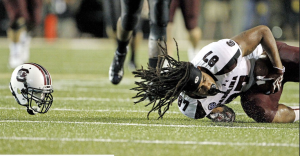South Carolina Justice Cunningham hauls in a 20-yard reception in a Aug. 30 meeting against Vanderbilt. Photo courtesy of ESPN.