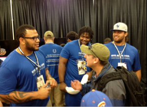 Colts draft picks Hugh Thornton, Montori Hughes and Khaled Holmes meet fans inside the Indianapolis Motor Speedway.